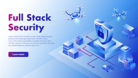 Isometric illustration full stack security with flying droids. This isometric illustration depicts flying droids that provide full stack security in various royalty free illustration