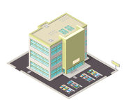 Isometric  illustration of a large modern office icon. Modern isometric illustration of contemporary large office with parking facilities Stock Photo
