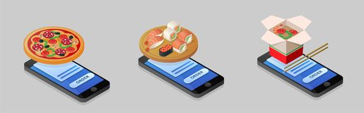 Isometric illustration of ordering pizza, sushi, noodles using s. Martphone, phone. Online ordering, food delivery, e-Commerce. Set vector icons. Flat 3D vector illustration