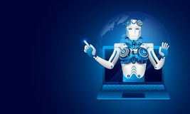 Isometric illustration of a robot on laptop on shiny blue background, Artificial intelligence(AI) or Global Deep learning concept royalty free illustration
