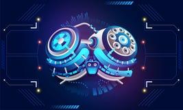 Isometric illustration of robotic brain on hud background for Ma royalty free illustration