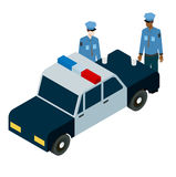 Isometric illustration of two policemen drinking coffee near the car Stock Photography
