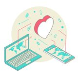 Isometric illustration for Valentine's Day Royalty Free Stock Images