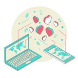 Isometric illustration for Valentine's Day Royalty Free Stock Photography