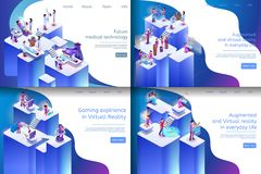 Isometric Illustration Virtual Reality Processes. Banner Set Image Future Medical Technology, Gaming Expirience in Virtual Reality, Augmented and Virtual royalty free illustration