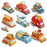 Isometric illustrations of cars fast delivery of food and food trucks. Set of isometric illustrations cars fast delivery of food and food trucks - pizza, ice vector illustration