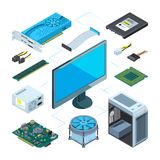 Isometric illustrations of computer hardware. Vector pictures set royalty free illustration