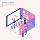 Data analytics tools. Isometric illustrations concept data analysis teamwork and tools. small people working on laptop computer expand graph and chart for stock illustration