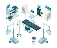 Isometric illustrations of medical equipment in operating. Room. Hospital pictures set. Medicine equipment for clinic and operating vector Royalty Free Stock Image