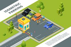 Isometric illustrations of urban paid parking with various cars vector illustration