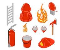 Isometric ilustracja pożarniczy Haczyk i hydrant Pożarnicza kolekcja Elementy dla infographic Obrazy Royalty Free