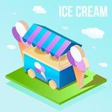 Isometric ilustracja uliczny lody sklep Fotografia Stock