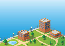 Isometric image. Of a fragment of the city skyline vector illustration