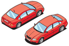 Isometric image of a car. Isometric illustration of red car. (front and rear view Royalty Free Stock Photography