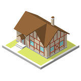 Isometric image of a private house. 3D isometric image of a private house, village Stock Images