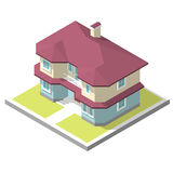 Isometric image of a private house. 3D isometric image of a private house, village Royalty Free Stock Images