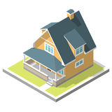 Isometric image of a private house. 3D isometric image of a private house, village Royalty Free Stock Photography
