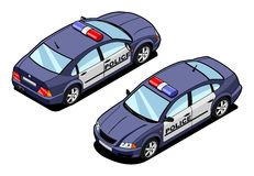 Isometric image of a squad car. Isometric illustration of police car. (front and rear view Stock Photo