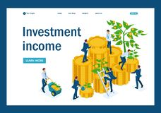 Isometric businessmen insure money. Isometric Income from investments, businessmen collect profits and reinvest money. Template Landing page vector illustration