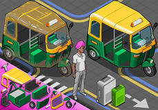 Isometric Indian Rickshaw in Front View Royalty Free Stock Image