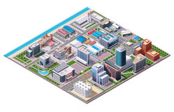 Isometric industrial and business city district map. Isometric set of the buildings, road elements and plants