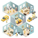 Isometric Industrial Cleaning Colored Composition. With different rooms walls and cleaning work vector illustration royalty free illustration