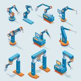 Isometric Industrial Factory Automation Elements Set. With different robotic automated mechanical arms isolated vector illustration Royalty Free Stock Photo