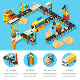 Isometric Industrial Factory Composition Stock Image