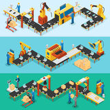 Isometric Industrial Factory Horizontal Banners. With automated lines of production assembly and packaging processes vector illustration Stock Images