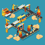 Isometric Industrial Factory Template Stock Images