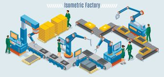 Isometric Industrial Factory Template. With assembly line automated robotic arms and workers monitoring conveyor belt isolated vector illustration vector illustration