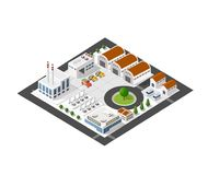 Isometric industrial landscape. Of the plant top view with streets, houses, warehouses, hangars Royalty Free Stock Photos