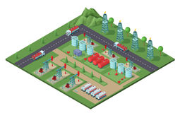 Isometric Industrial Oil Field Plant Concept. With drilling rigs trucks tanks of petroleum electric towers vector illustration Stock Photo