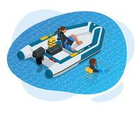 Free Isometric Inflatable Boat. A Modern Inflatable Boat With Rigid Wooden Floorboards, A Transom And An Inflatable Keel Royalty Free Stock Photography - 147660827