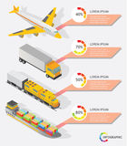 Isometric info graphic transporter shipping vector. Design Royalty Free Stock Photography