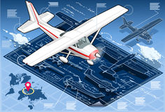 Isometric Infographic Airplane Blue Print Royalty Free Stock Image