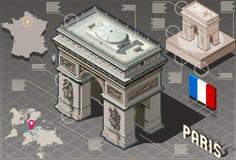 Isometric Infographic Arc de Triomphe στο Παρίσι - ποιότητα HD Διανυσματική απεικόνιση