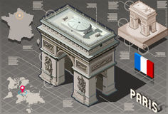 Isometric Infographic Arc de Triomphe in Paris - HD Quality Stock Images