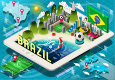 Isometric Infographic of Brazil on Tablet Stock Photography