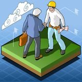 Isometric Infographic Building Certification Stock Photo