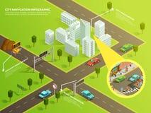 Isometric Infographic City Navigation stock illustration