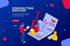 Consult Administration Corporate Infographic Isometric Vector. Isometric infographic of consult and administration. Corporate risk graph to engineering royalty free illustration