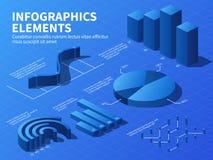 Isometric infographic 3d statystyk wykresy i wzrostowe mapy, odsetków diagramy Biznesowy prezentacja wektor ilustracja wektor