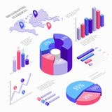 Isometric infographic elements with charts, diagram, pie chart, world map with pins and graphs with percent. Set of. Isometric bar charts vector flat Royalty Free Stock Photo