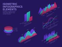 Isometric infographic elementy 3d wykresy, prętowa mapa, targowy histogram i warstwa diagram, Biznesowy prezentacja wektor ilustracja wektor