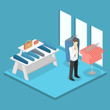 Isometric infographic flat 3D interior of clothing store inside. Isometric infographic flat 3D concept interior of clothing store inside royalty free illustration