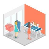 Isometric infographic flat 3D interior of clothing store inside. Isometric infographic flat 3D concept interior of clothing store inside vector illustration