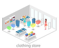 Isometric infographic flat 3D interior of clothing store inside. Isometric infographic flat 3D concept interior of clothing store inside stock illustration