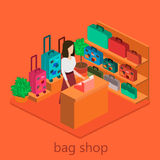 Isometric infographic.Flat interior of luggage shop. Royalty Free Stock Images