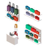 Isometric infographic.Flat interior of luggage shop. Stock Photography